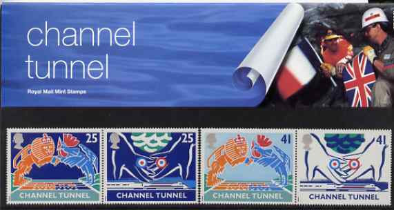 Great Britain 1994 Opening of Channel Tunnel set of 4 (2 se-tenant pairs) in official presentation pack SG 1820-23
