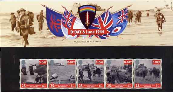 Great Britain 1994 D-Day 50th Anniversary, strip of 5 in official presentation pack SG 1824-28