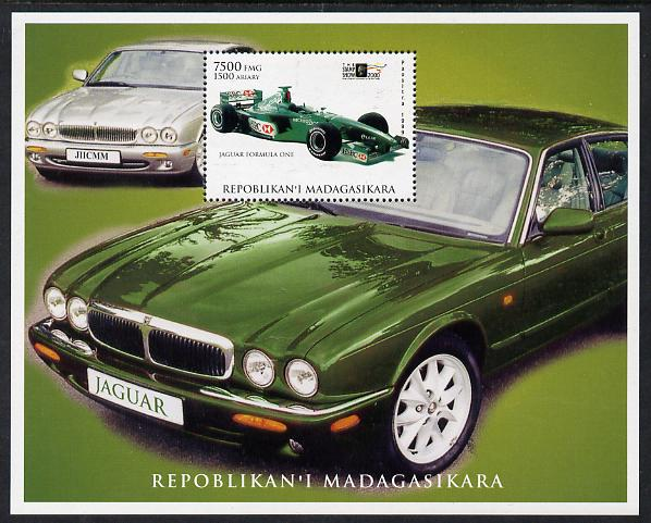 Madagascar 1999 Jaguar Cars perf deluxe souvenir sheet unmounted mint. Note this item is privately produced and is offered purely on its thematic appeal