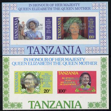 Tanzania 1985 Life & Times of HM Queen Mother imperf proof set of 2 m/sheets each with 'Caribbean Royal Visit 1985' opt in silver (unissued) unmounted mint