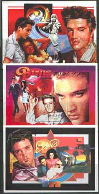 Sahara Republic 1996 Elvis Presley set of three perf miniature sheets cto used
