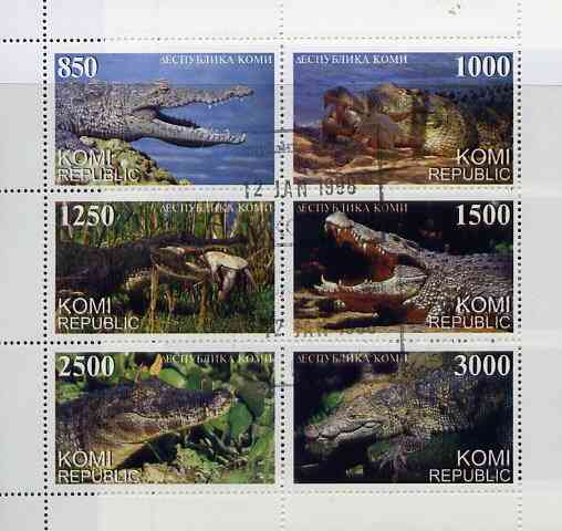 Komi Republic 1997 Reptiles (Crocodiles) perf sheetlet containing complete set of 6 cto used