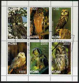Komi Republic 1997 Owls perf sheetlet containing complete set of 6 cto used, stamps on birds, stamps on birds of prey, stamps on owls