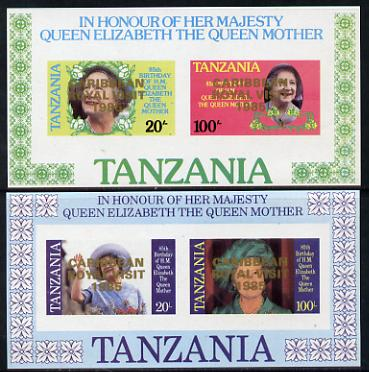 Tanzania 1985 Life & Times of HM Queen Mother imperf proof set of 2 m/sheets each with 'Caribbean Royal Visit 1985' opt in gold (unissued) unmounted mint
