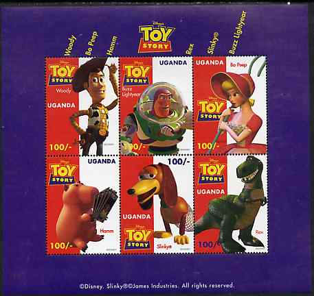 Uganda 1997 Walt Disney's Toy Story unmounted mint sheetlet containing set of 6