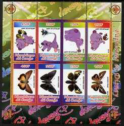 Congo 2010 Disney & Butterflies #1 perf sheetlet containing 8 values with Scout Logo unmounted mint
