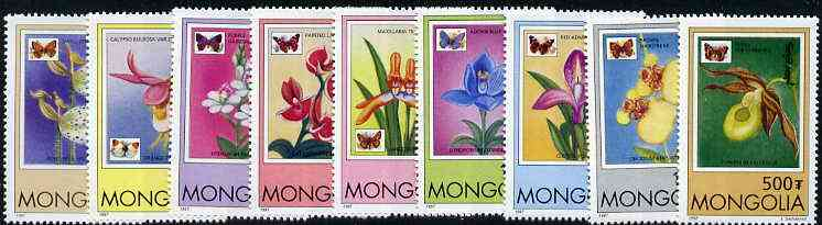 Mongolia 1997 Orchids and Butterflies complete set of 9 values unmounted mint
