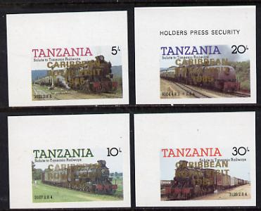 Tanzania 1985 Locomotives imperf proof set of 4 each with 'Caribbean Royal Visit 1985' opt in gold (unissued) unmounted mint