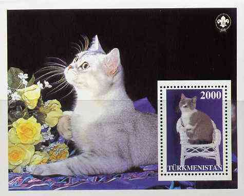Turkmenistan 1997 Domestic Cats  perf souvenir sheet (with Scout Logo in corner)