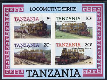 Tanzania 1985 Locomotives imperf proof miniature sheet with 'Caribbean Royal Visit 1985' opt in gold (unissued) unmounted mint