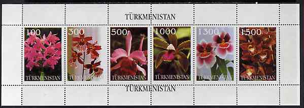 Turkmenistan 1997 Orchids sheetlet containing complete set of 6 values unmounted mint