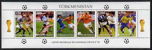 Turkmenistan 1997 Football World Cup sheetlet containing complete set of 6 values unmounted mint