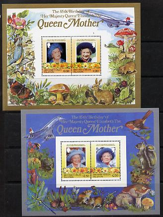 British Virgin Islands 1985 Life & Times of HM Queen Mother the set of 2 m/sheets containing 2 x $1 and 2 x $2.50 values (depicts Concorde, Fungi, Butterflies, Birds & Animals) unmounted mint
