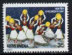 India 1980 Children's Day (Painting of Girls Dancing by Pampa Paul) unmounted mint SG 988*