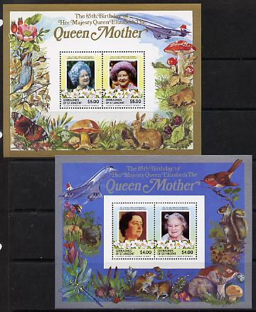 St Vincent - Grenadines 1985 Life & Times of HM Queen Mother the set of 2 m/sheets containing 2 x $4 and 2 x $5 values (depicts Concorde, Fungi, Butterflies, Birds & Animals) unmounted mint