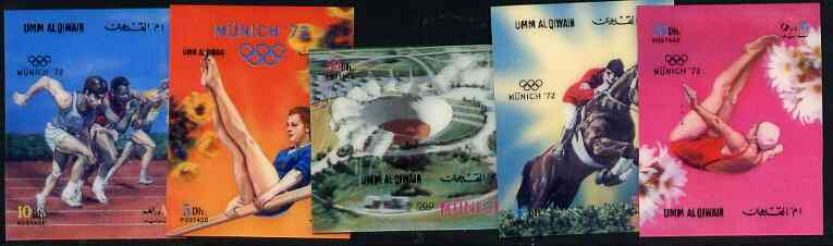 Umm Al Qiwain 1972 Munich Olympic Games set of 5 in 3-dimensional format on plastic card unmounted mint, Mi 587-91