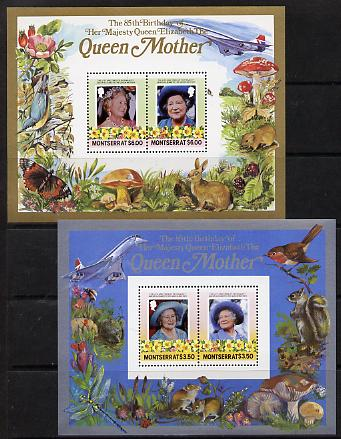 Montserrat 1985 Life & Times of HM Queen Mother the set of 2 m/sheets containing 2 x $3.50 and 2 x $6 values (depicts Concorde, Fungi, Butterflies, Birds & Animals) unmounted mint
