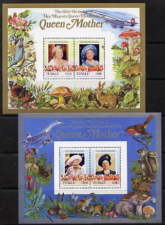 Tuvalu 1985 Life & Times of HM Queen Mother (Leaders of the World) the set of 2 m/sheets containing 2 x $2 and 2 x $3 values (depicts Concorde, Fungi, Butterflies, Birds & Animals) unmounted mint