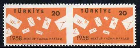 Turkey 1958 International Correspondence Week unmounted mint pair imperf between, SG 1832var