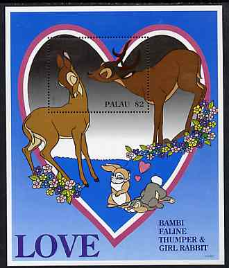 Palau 1996 Disney Sweethearts $2 m/sheet (Bambi) unmounted mint