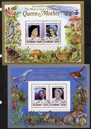 St Vincent 1985 Life & Times of HM Queen Mother the set of 2 m/sheets containing 2 x $3.50 and 2 x $6 values (depicts Concorde, Fungi, Butterflies, Birds & Animals) unmounted mint
