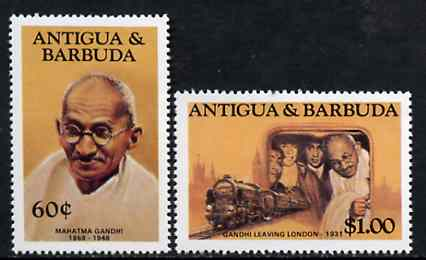 Antigua 1984 Mahatma Gandhi 60c & $1 from Famous People set of 8 unmounted mint, SG 889 & 893*