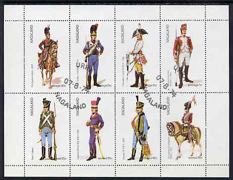 Nagaland 1974 Military Uniforms perf  set of 8 values (5c to 50c) cto used