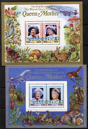 St Vincent - Bequia 1985 Life & Times of HM Queen Mother the set of 2 m/sheets containing 2 x $3.50 and 2 x $6 values (depicts Concorde, Fungi, Butterflies, Birds & Animals) unmounted mint
