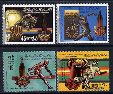 Libya 1979 Pre Olympics (1980 Moscow) perf set of 4 with silver opt unmounted mint, SG 939-42*