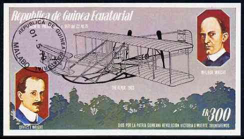 Equatorial Guinea 1979 Flight Anniversary of Wright Brothers 300ek deluxe sheet cto used