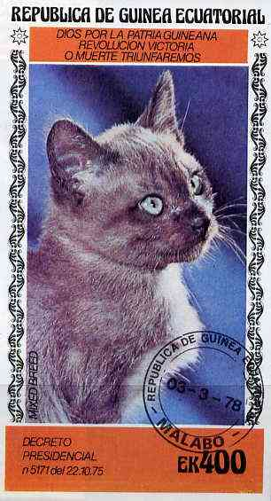 Equatorial Guinea 1978 Domestic Cats 400ek imperf m/sheet (Mixed Breed) cto used