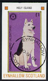 Eynhallow 1984 Rotary - Dogs �1 imperf souvenir sheet (German Shepherd) cto used