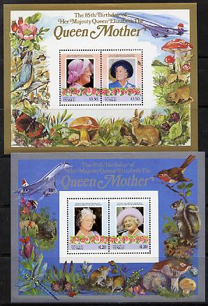 Tuvalu - Nukulaelae 1985 Life & Times of HM Queen Mother (Leaders of the World) the set of 2 m/sheets containing 2 x $1.20 and 2 x $3.50 values (depicts Concorde, Fungi, Butterflies, Birds & Animals) unmounted mint