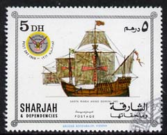 Sharjah 1969 Ships - Apollo 12 opt on 5Dh (Santa Maria) cto used with opt omitted & inverted on gummed side