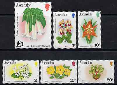 Ascension 1982 Flowers def set of 6 with imprint date, SG 283B-95B