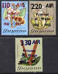 Guyana 1982 Flowering Plants set of 3 opt'd for 21st Birthday of Princess of Wales unmounted mint, SG 979-81