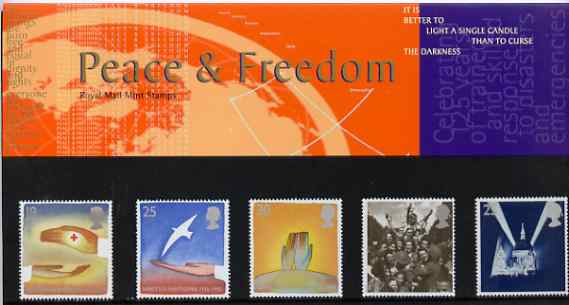 Great Britain 1995 Europa - Peace & Freedom set of 5 in official presentation pack SG 1873-77