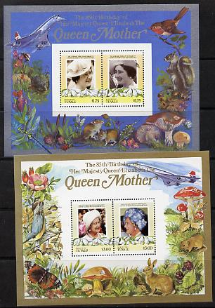 Tuvalu - Nukufetau 1985 Life & Times of HM Queen Mother (Leaders of the World) the set of 2 m/sheets containing 2 x $1.75 and 2 x $3 values (depicts Concorde, Fungi, Butterflies, Birds & Animals) unmounted mint