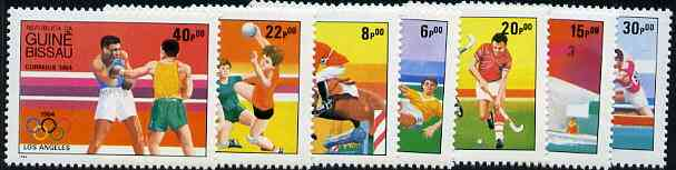 Guinea - Bissau 1984 Los Angeles Olympic Games  (2nd Issues) perf set of 7 unmounted mint, SG 843-49, Mi 765-71*, stamps on , stamps on  stamps on sport     olympics      football     show-jumping    yachting    field hockey     handball    canoeing     boxing