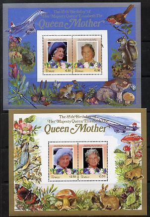 Tuvalu - Nui 1985 Life & Times of HM Queen Mother (Leaders of the World) the set of 2 m/sheets containing 2 x $1.50 and 2 x $3.50 values (depicts Concorde, Fungi, Butterflies, Birds & Animals) unmounted mint