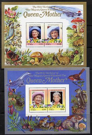 Tuvalu - Funafuti 1985 Life & Times of HM Queen Mother (Leaders of the World) the set of 2 m/sheets containing 2 x $2 and 2 x $3 values (depicts Concorde, Fungi, Butterfl...
