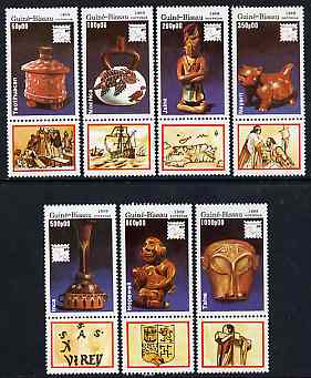 Guinea - Bissau 1989 Brasiliana '89 International Stamp Exhibition (Antiquities) set of 7 se-tenant with labels unmounted mint, SG 1143-49, Mi 1065-71*