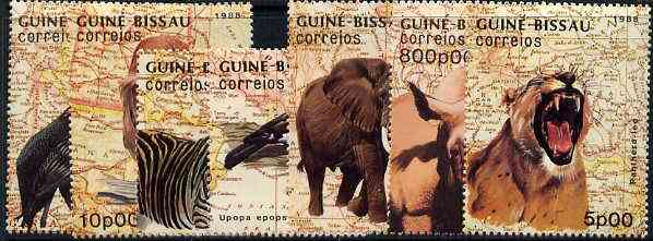 Guinea - Bissau 1988 Animals & Birds (Background of Maps) unmounted mint set of 7, SG 1029-35, Mi 982-88*