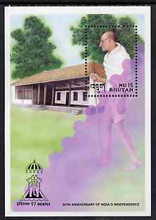 Bhutan 1997 50th Anniversary of India's Independence m/sheet containing 15nu stamp showing Gandhi, with Indpex imprint unmounted mint, stamps on gandhi, stamps on stamp exhibitions