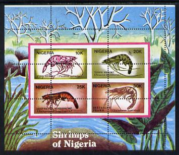 Nigeria 1988 Shrimps m/sheet (SG MS 564) unmounted mint with wrong perf pattern - horiz & vert perfs misplaced through centre of stamps