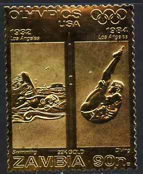 Zambia 1984 Los Angeles Olympic Games 90n perf embossed in 22k gold foil showing Swimming & Diving unmounted mint
