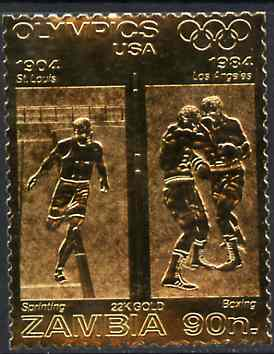 Zambia 1984 Los Angeles Olympic Games 90n perf embossed in 22k gold foil showing Sprinting & Boxing unmounted mint