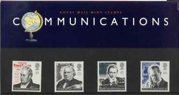 Great Britain 1995 Pioneers of Communications set of 4 in official presentation pack SG 1887-90