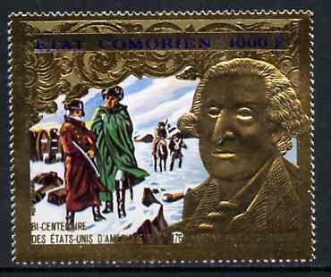 Comoro Islands 1976 USA Bicentenary 1000f (George Washington) emossed in gold foil (perf) unmounted mint Mi 264