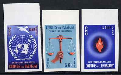 Paraguay 1960 United Nations imperf set of 3, Mi 861-63